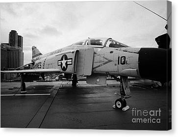 Mcdonnell F4n F4 Phantom On Display On The Flight Deck At The Intrepid Sea Air Space Museum Canvas Print by Joe Fox