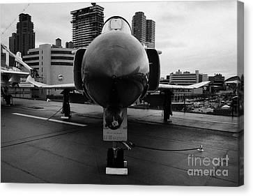 Mcdonnell F4n Phantom On Display On The Flight Deck Of Uss Intrepid New York F4 Canvas Print
