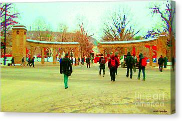 Montreal Canvas Print - Mcgill Univ Students And Faculty College Campus Montreal Memories Collectible Art Prints C Spandau by Carole Spandau