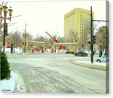 Cityscape Canvas Print - Mcgill University Campus Sherbrooke Street Scene Early Morning Winter Day Montreal Carole Spandau by Carole Spandau