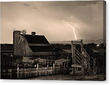 Cattle Run Canvas Print - Mcintosh Farm Lightning Sepia Thunderstorm by James BO  Insogna