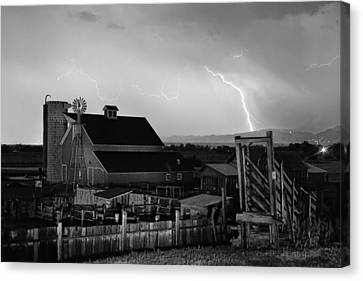 Cattle Run Canvas Print - Mcintosh Farm Lightning Thunderstorm Black And White by James BO  Insogna
