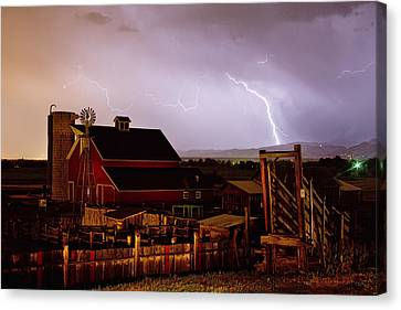 Cattle Run Canvas Print - Mcintosh Farm Lightning Thunderstorm by James BO  Insogna