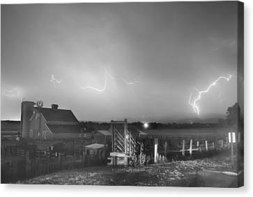 Cattle Run Canvas Print - Mcintosh Farm Lightning Thunderstorm View Bw by James BO  Insogna