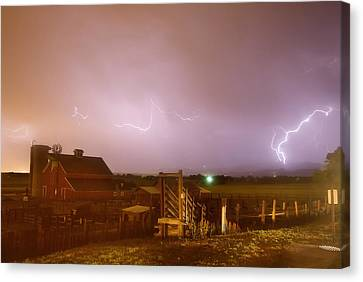 Cattle Run Canvas Print - Mcintosh Farm Lightning Thunderstorm View by James BO  Insogna