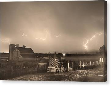 Cattle Run Canvas Print - Mcintosh Farm Lightning Thunderstorm View Sepia by James BO  Insogna