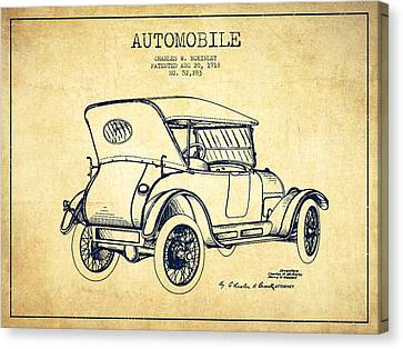 Antique Automobiles Canvas Print - Mckinley Automobile Patent Drawing From 1918 - Vintage by Aged Pixel