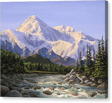 Majestic Denali Alaskan Painting Of Denali Canvas Print by Karen Whitworth