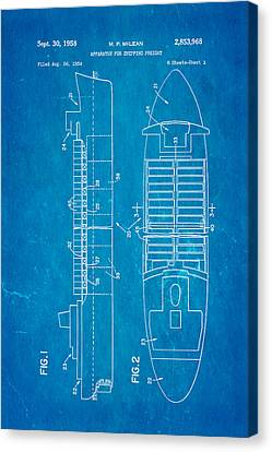 Navy Canvas Print - Mclean Shipping Container Patent Art 1958 Blueprint by Ian Monk