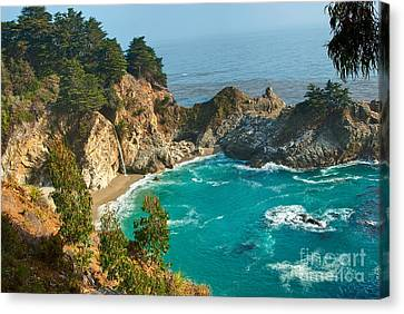 Mcway Falls Along The Big Sur Coast. Canvas Print by Jamie Pham