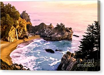 Mcway Falls Pacific Coast Canvas Print by Bob and Nadine Johnston