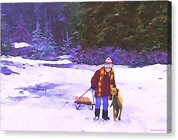 Canvas Print featuring the painting Me And My Buddy by Sophia Schmierer