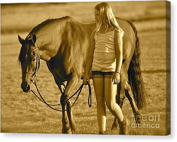 Canvas Print featuring the photograph Me And My Pony by Barbara Dudley