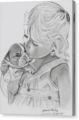 Me And My Puppy Canvas Print by Barb Baker