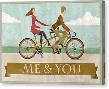 Framed Canvas Print - Me And You Bike by Andy Scullion