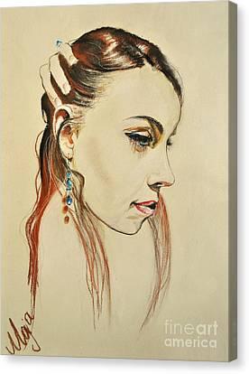Canvas Print featuring the drawing Me by Maja Sokolowska