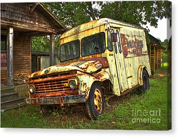 Rusty And Tired Meadow Gold Milk Ford Canvas Print by Reid Callaway