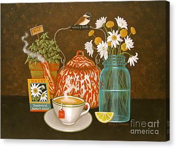 Mason Jars Canvas Print - Meadow Tea by Mary Charles