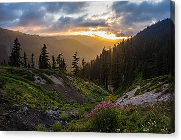 North Cascades Canvas Print - Meadows Dusk Horizons by Mike Reid