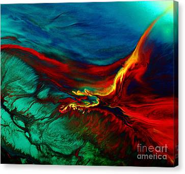 Meaningful Art-flying Above Modern Abstract Colorful Art By Kredart  Canvas Print by Serg Wiaderny