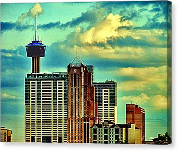 Meanwhile In Another Part Of Town Canvas Print by Wendy J St Christopher