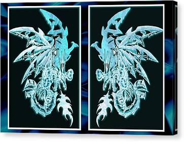 Mech Dragons Diamond Ice Crystals Canvas Print