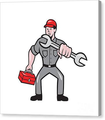 Mechanic Punching With Spanner Cartoon Canvas Print by Aloysius Patrimonio