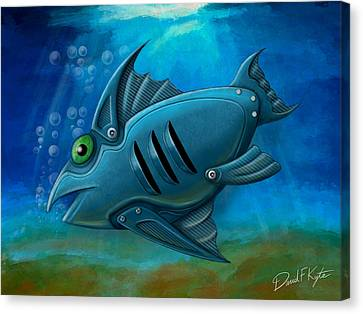Mechanical Fish 4 Canvas Print by David Kyte