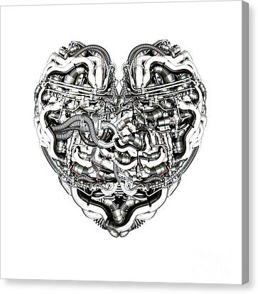 Mechanical Heart With Brain Canvas Print by Diuno Ashlee