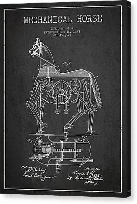 Mechanical Horse Patent Drawing From 1893 - Dark Canvas Print by Aged Pixel