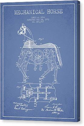Mechanical Horse Patent Drawing From 1893 - Light Blue Canvas Print by Aged Pixel