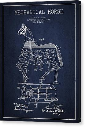 Mechanical Horse Patent Drawing From 1893 - Navy Blue Canvas Print by Aged Pixel