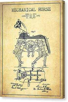 Mechanical Horse Patent Drawing From 1893 - Vintage Canvas Print by Aged Pixel