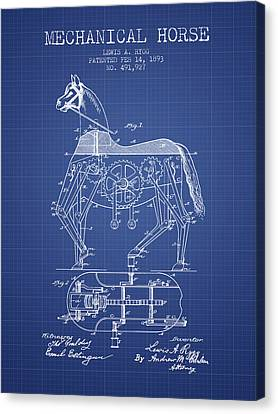 Mechanical Horse Patent From 1893- Blueprint Canvas Print by Aged Pixel