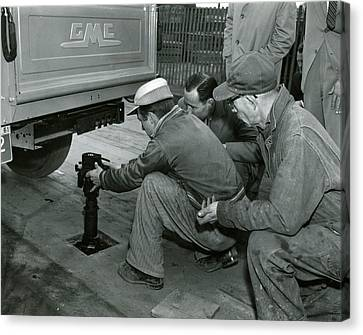Mechanics Working On Vintage Truck Canvas Print by Retro Images Archive