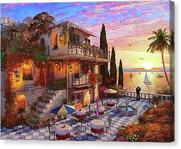 Glass Bottle Canvas Print - Med Villa by Dominic Davison