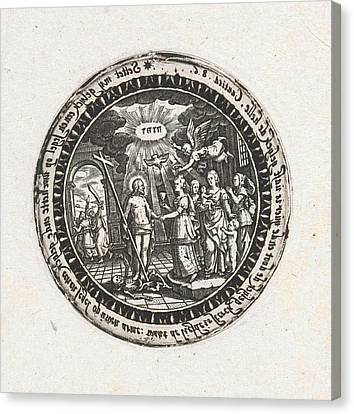 Medallion With A Depiction Of The Marriage Of Christ Canvas Print by Dirck Strijcker