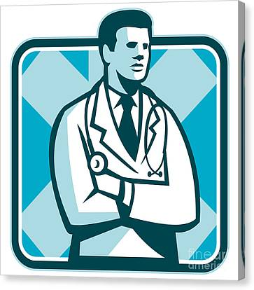 Workers Canvas Print - Medical Doctor Physician Stethoscope Standing Retro by Aloysius Patrimonio