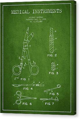 Medical Instruments Patent From 2001 - Green Canvas Print by Aged Pixel