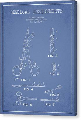 Medical Instruments Patent From 2001 - Light Blue Canvas Print by Aged Pixel