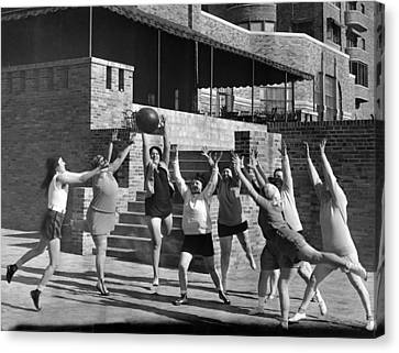 Medicine Ball Exercise Canvas Print by Underwood Archives