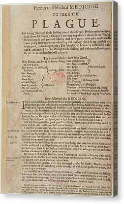 Medicine To Cure The Plague Canvas Print by British Library