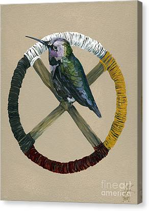 Hummingbird Canvas Print - Medicine Wheel by J W Baker