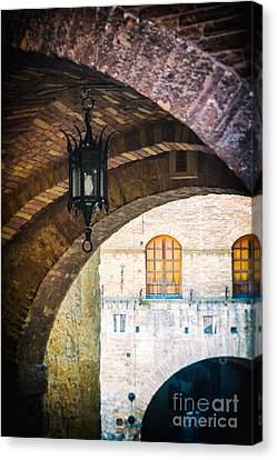 Canvas Print featuring the photograph Medieval Arches With Lamp by Silvia Ganora