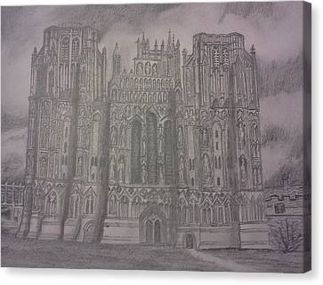 Canvas Print featuring the drawing Medieval Cathedral by Christy Saunders Church