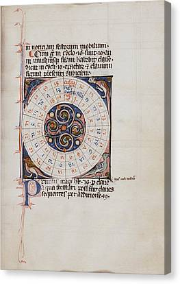 History Of Science Canvas Print - Medieval Chart Of The Decemnovenale Cycle by Renaissance And Medieval Manuscripts Collection/new York Public Library