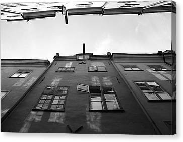 Medieval Houses With Open Window - Monochrome Canvas Print