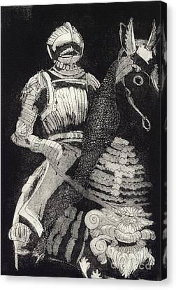 Canvas Print featuring the painting Medieval Knight On Horseback - Chevalier - Caballero - Cavaleiro - Fidalgo - Riddare -ridder -ritter by Urft Valley Art