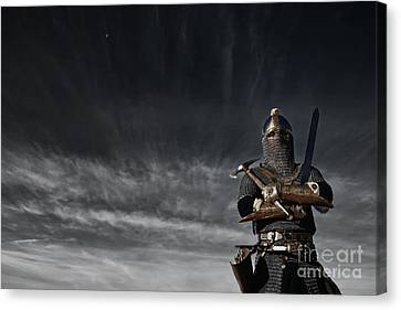 Medieval Knight With Sword And Axe Canvas Print by Holly Martin