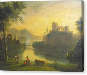 Medieval Landscape With People Canvas Print by Unknown